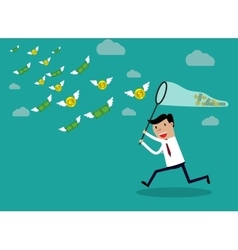 Businessman running with butterfly money vector image
