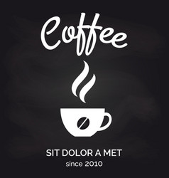 Cafe chalkboard poster with coffee cup vector