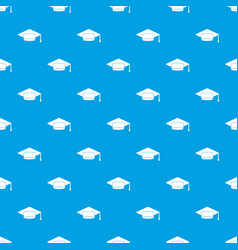 cap student pattern seamless blue vector image