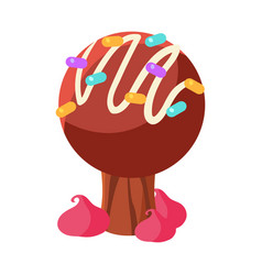 chocolate cake tree colorful cartoon vector image