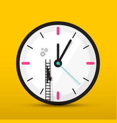 clock icon with man on ladder time maintenance vector image