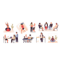 Collection pregnant woman visiting doctor or vector