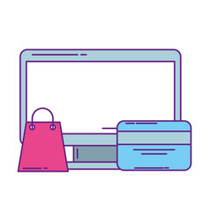 Computer monitor with bag shopping and credit card vector