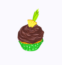 Cupcake with chocolate cream and pineapple vector