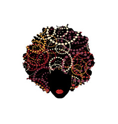 Curly afro hair portrait african woman red lips vector