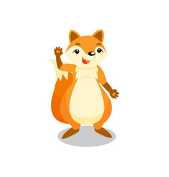 Cute little fox waving his paw funny pup cartoon vector