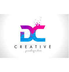 Dc d c letter logo with shattered broken blue vector