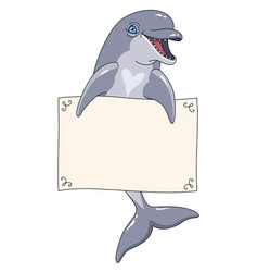 Dolphin with banner vector