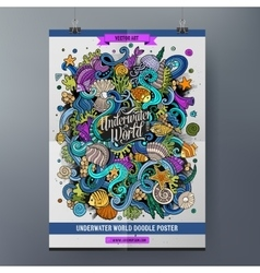 Doodles cartoon colorful Underwater world poster vector image