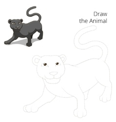 draw animal panther educational game vector image