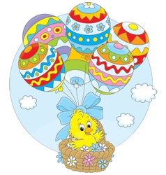 Easter chick flies with balloons vector