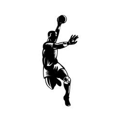 European handball player jumping scoring woodcut vector