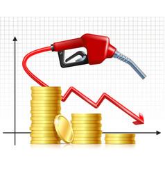 falling price gas fuel handle pump nozzle vector image