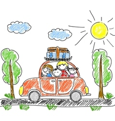 Family Car Drawing vector