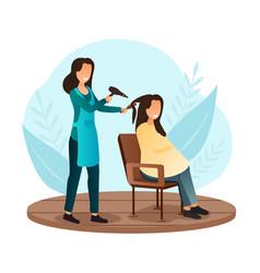 Female character is having her hair cut vector