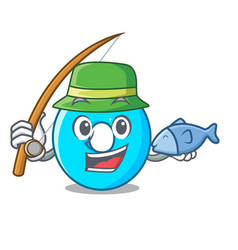 fishing cartoon the number zero color blue vector image