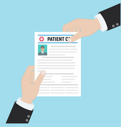 folder with patient card and doctors hand with vector image