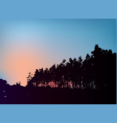 Forest trees silhouette on sunset template vector