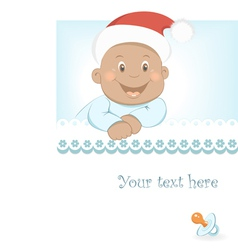 Funny Christmas African baby boy vector image