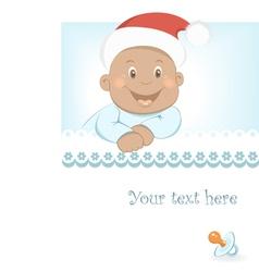 Funny christmas african baby boy vector