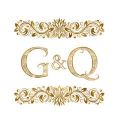 g and q vintage initials logo symbol vector image