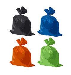 Garbage bag icons set rubbish waste and trash vector