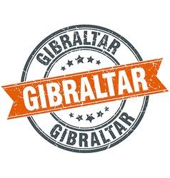 Gibraltar red round grunge vintage ribbon stamp vector