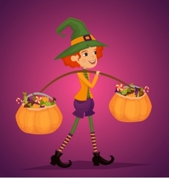 Girl in Halloween costume with hat magician vector