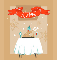 Hand drawn abstract fun merry christmas vector