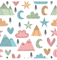 Hand drawn seamless pattern with trees stars vector