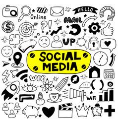 hand drawn set social media vector image