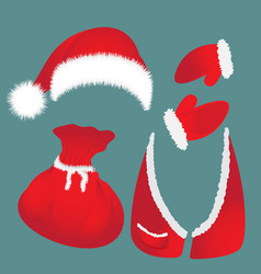 Hat with pompon bag waistcoat santa claus vector