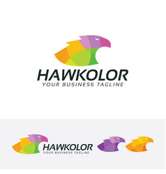 Hawk color logo design vector