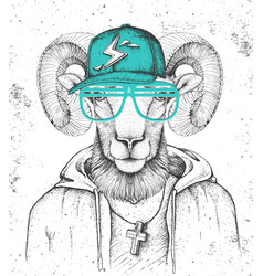 Hipster animal ram or mouflon dressed in cap vector