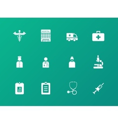 Hospital icons on green background vector