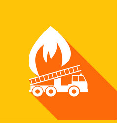 icon fire engine with a long shadow vector image