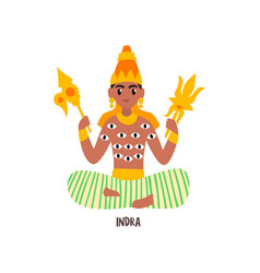 Indra indian god on a white vector