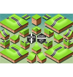 Isometric roads on two levels terrain vector
