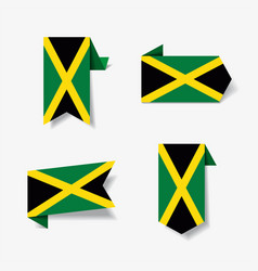 jamaican flag stickers and labels vector image