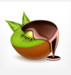 kiwi fruit with chocolate vector image