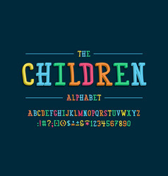 latin alphabet children font in cute cartoon 3d vector image