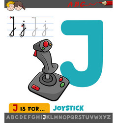 Letter j worksheet with cartoon joystick vector