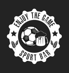logo soccer ball and beer glass vector image