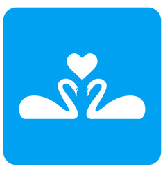 Love swans rounded square icon vector