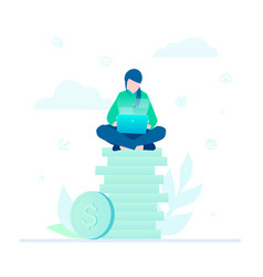 making money - flat design style colorful vector image