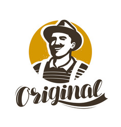 man with hat symbol brewery winery farm logo vector image