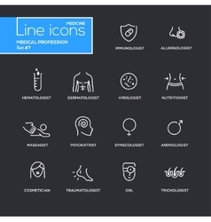 Medical profession simple thin line design icons vector