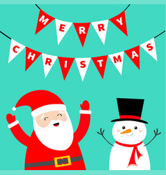merry christmas bunting flags letters settriangle vector image