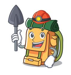 miner backpack mascot cartoon style vector image