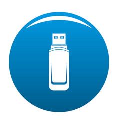 Mini flash drive icon blue vector